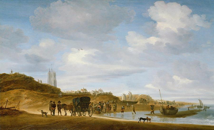 The Painting - The Beach At Egmond An Zee by Salomon van Ruysdael