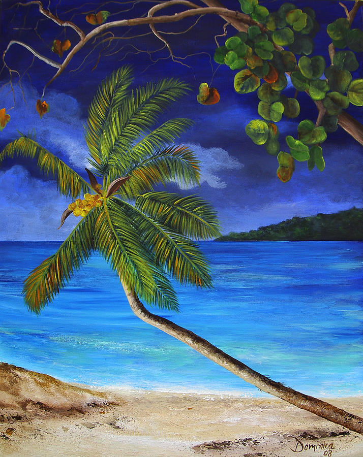 The Beach At Night Painting By Dominica Alcantara