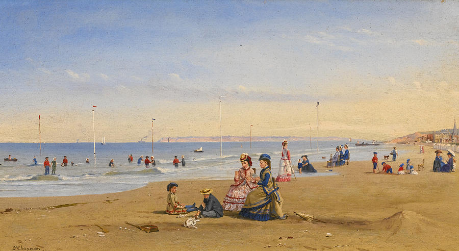 Conrad Wise Chapman Painting - The Beach At Trouville by Conrad Wise Chapman