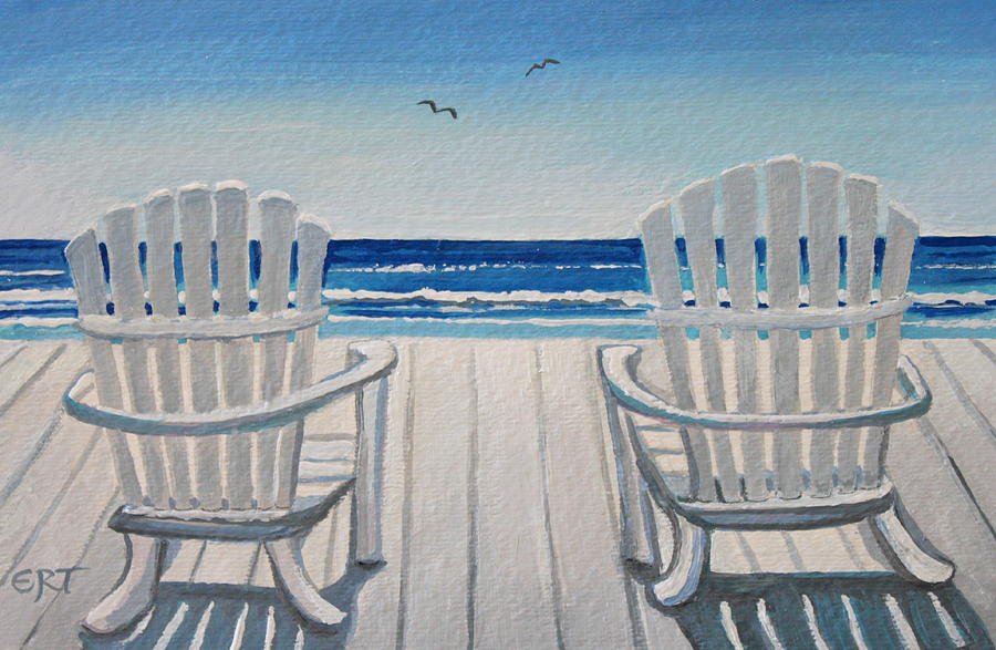 Beach Painting   The Beach Chairs By Elizabeth Robinette Tyndall