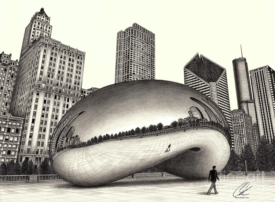 The Beach Chicago Drawing by Omoro Rahim