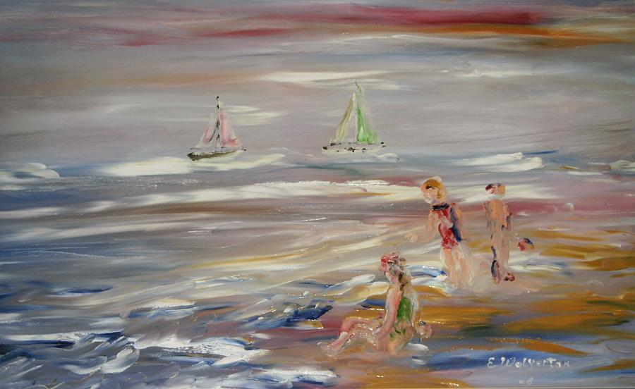 Seascape Painting - The Beach by Edward Wolverton