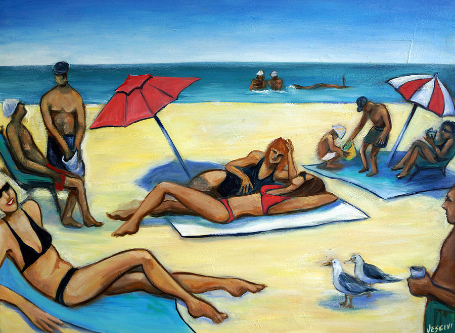 Beach Scene Painting - The Beach by Valerie Vescovi