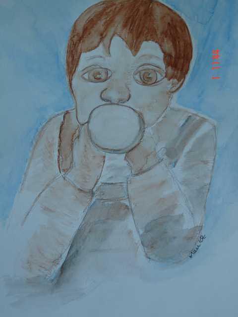 Infant Painting - The Beaker Kid by Maureen Blakeley