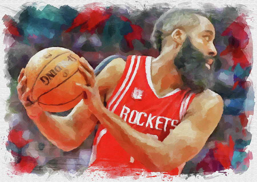 James Harden Digital Art - The Beard by Ricky Barnard