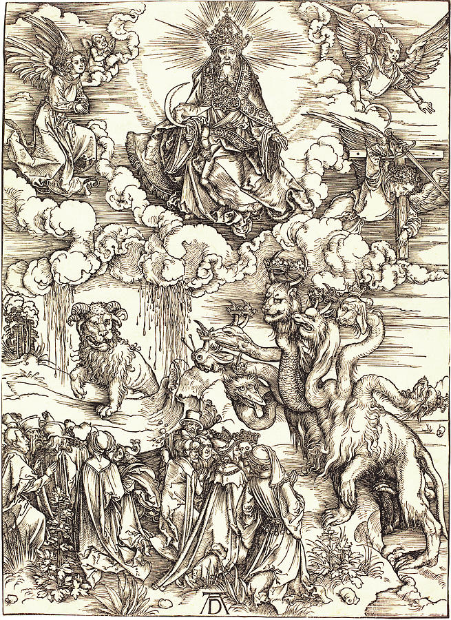 Durer Drawing -  The Beast With Two Horns Like A Lamb by Albrecht Durer