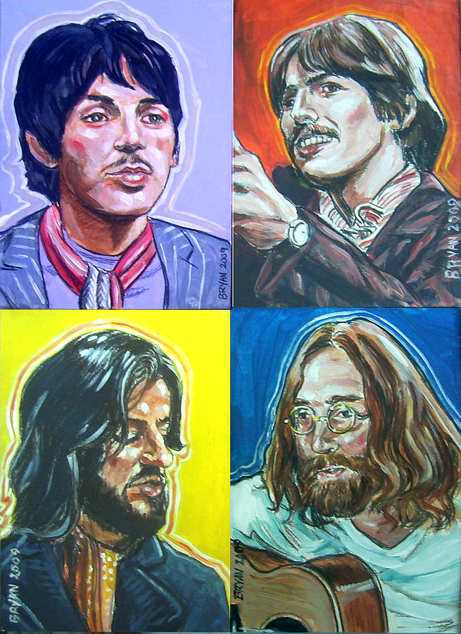 The Beatles Painting - The Beatles - Montage by Bryan Bustard