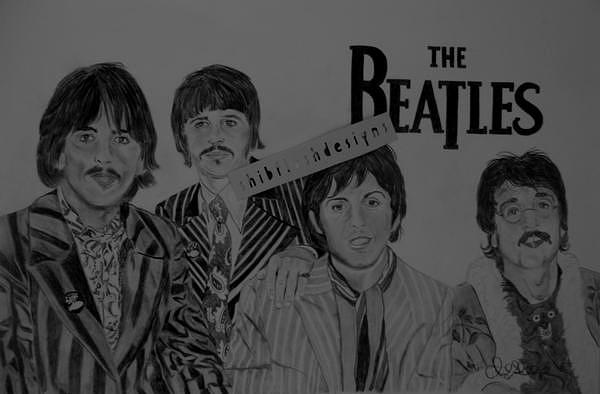 60's Beatles Painting - The Beatles by Cheryl Shibley