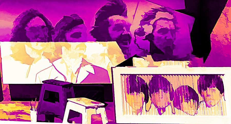 Beatles Photograph - The Beatles Collage Bright Fuchsia Colors  by Chuck Kuhn