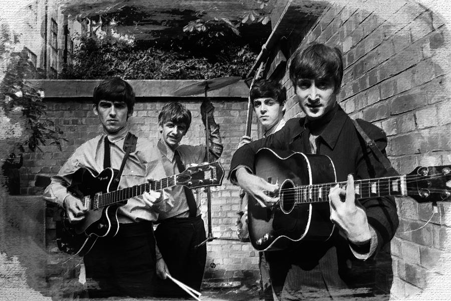 The Beatles Painting - The Beatles In London 1963 Black And White Painting by Tony Rubino