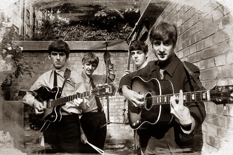 The Beatles Painting - The Beatles In London 1963 Sepia Painting by Tony Rubino