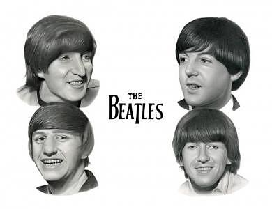 The Beatles Drawing - The Beatles by Jonathan Harris