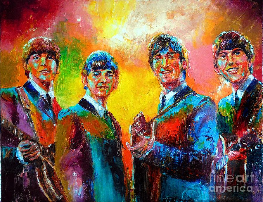 The Beatles Painting - The Beatles by Leland Castro