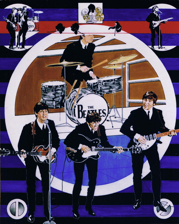 1960s Drawing - The Beatles - Live On The Ed Sullivan Show by Sean Connolly