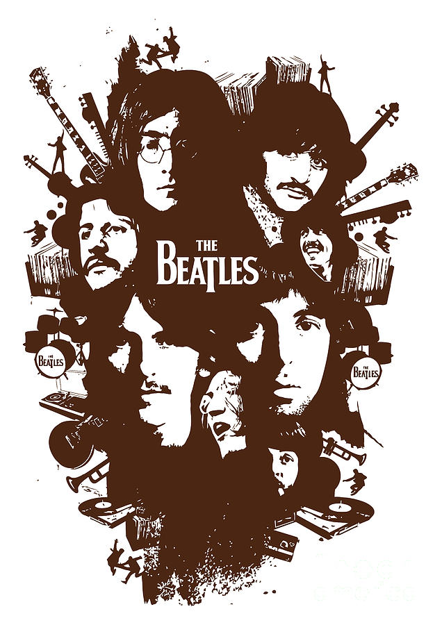 The Beatles Digital Art - The Beatles No.15 by Caio Caldas