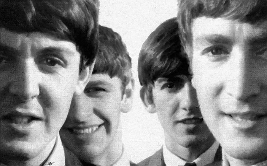The Beatles Painting - The Beatles Painting 1963 Black And White by Tony Rubino