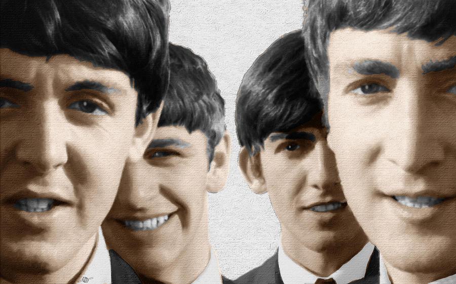 The Beatles Painting - The Beatles Painting 1963 Color by Tony Rubino