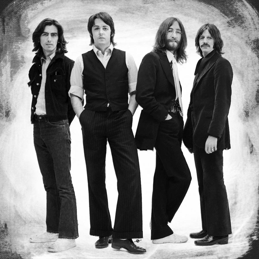 The Beatles Painting - The Beatles Painting Late 1960s Early 1970s Black And White by Tony Rubino