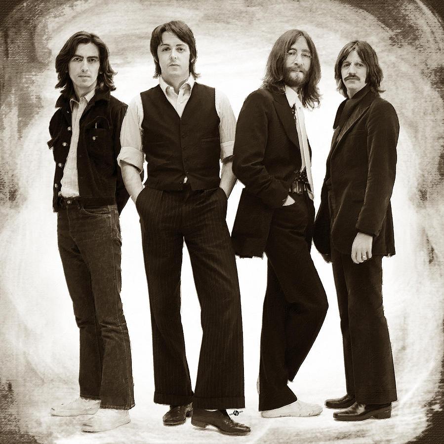 The Beatles Painting - The Beatles Painting Late 1960s Early 1970s Sepia by Tony Rubino