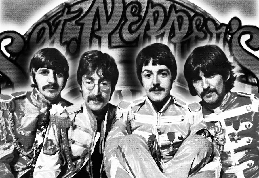 The Beatles Painting - The Beatles Sgt. Peppers Lonely Hearts Club Band Painting And Logo 1967 Black And White by Tony Rubino