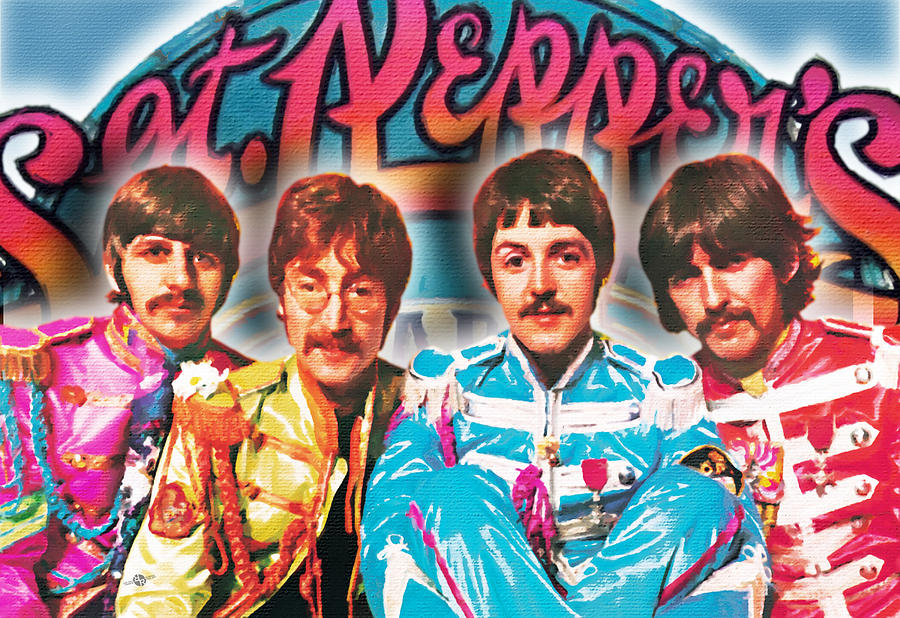 The Beatles Painting - The Beatles Sgt. Peppers Lonely Hearts Club Band Painting And Logo 1967 Color by Tony Rubino