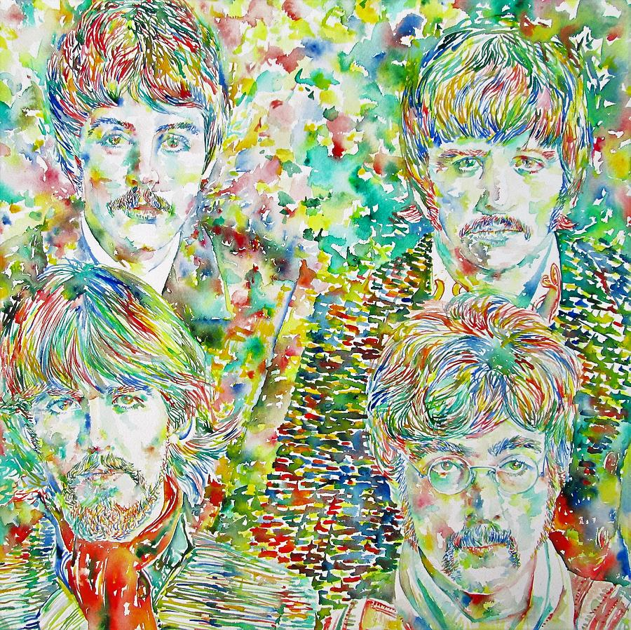 The Painting - The Beatles - Watercolor Portrait.1 by Fabrizio Cassetta