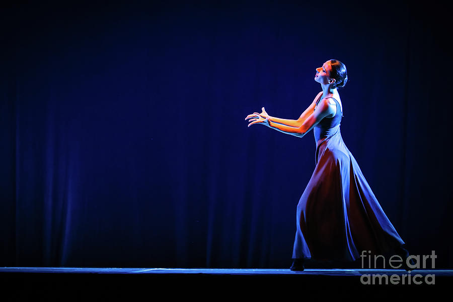 Ballet Photograph - The Beautiful Ballerina Dancing In Blue Long Dress by Dimitar Hristov