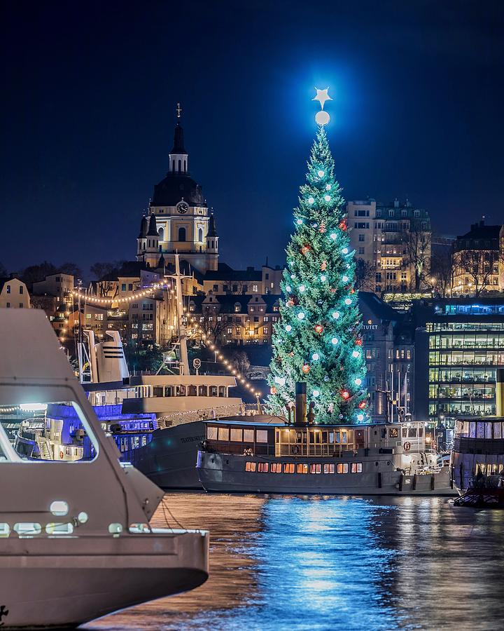 Beautiful Photograph - The Beautiful, Freshly Renovated Katarina Church And The Gigantic Christmas Tree In Stockholm by Dejan Kostic