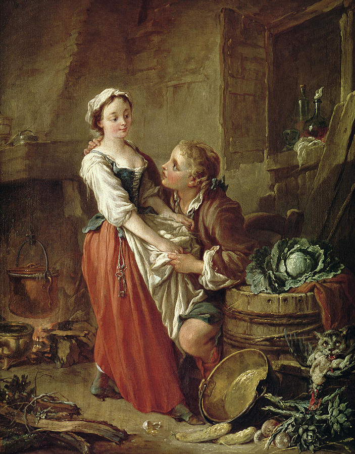 The Painting - The Beautiful Kitchen Maid by Francois Boucher