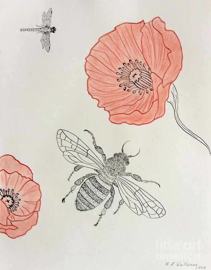 Bee Pastel - The Bee And Red Poppies  by Natalia Wallwork