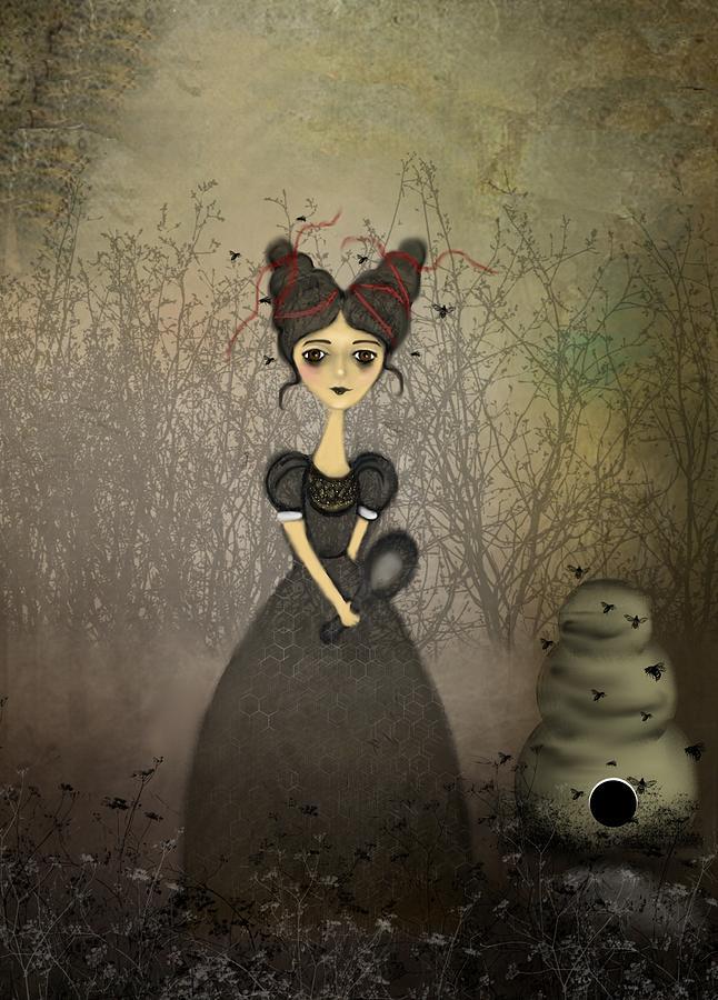 Girl Digital Art - The Bee Keeper by Charlene Zatloukal