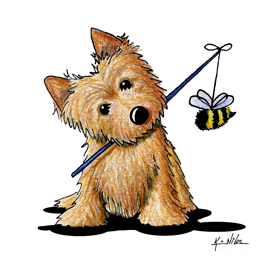 Norwich Terrier Drawing - The Beekeeper by Kim Niles