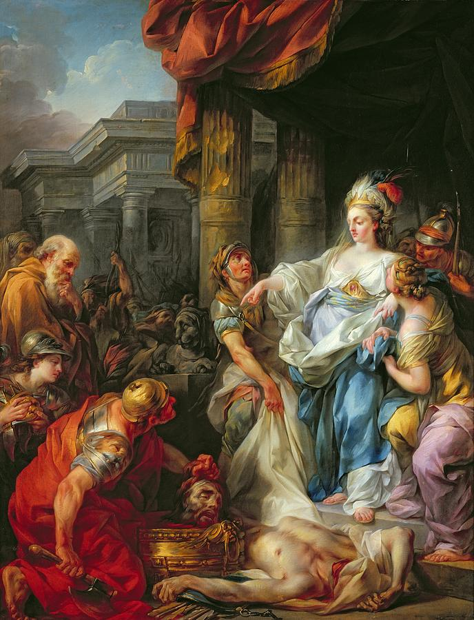 The Painting - The Beheading Of Cyrus IIi by Jean Simon Berthelemy