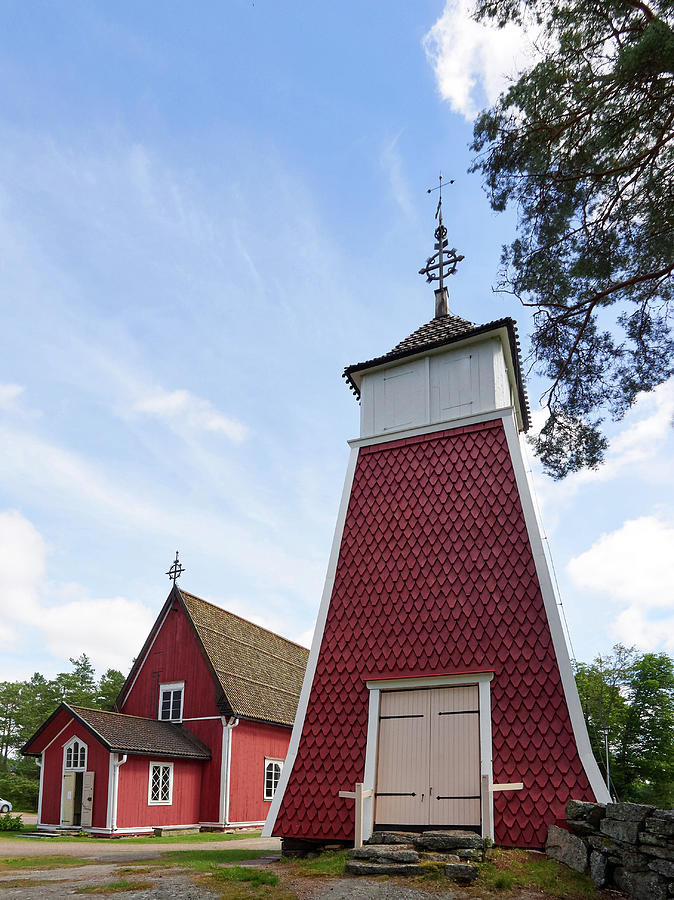 Finland Photograph - The Bellfry And The Church Of Kustavi by Jouko Lehto