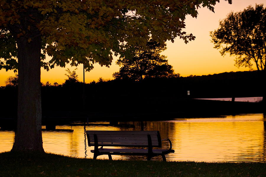 Sunset Photograph - The Bench By The Lake by Danielle Allard