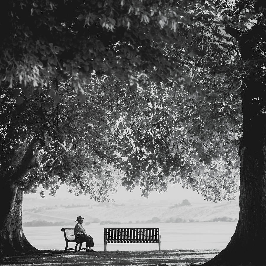 Bench Photograph - The Bench Man by Debi Bishop