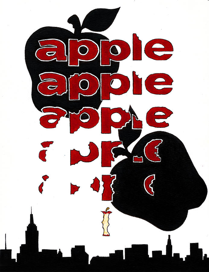 The Big Apple Painting - The Big Apple Rotten Apple by Turtle Caps