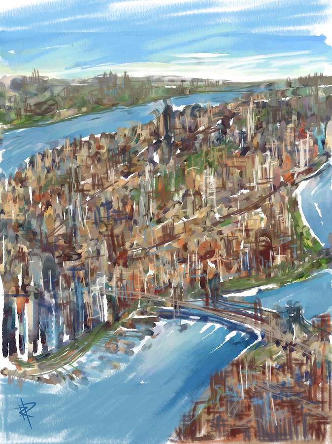 Manhattan Mixed Media - The Big Apple by Russell Pierce