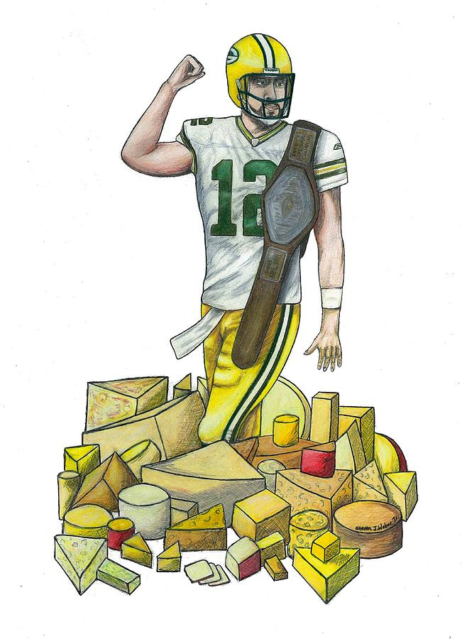Aaron Rodgers Drawing - The Big Cheese by Steve Weber