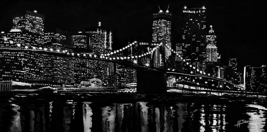 the big city lights painting by heather sweatte. Black Bedroom Furniture Sets. Home Design Ideas