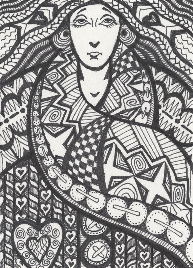 Zentangle Drawing - The Big Overcoat by Amy S Turner