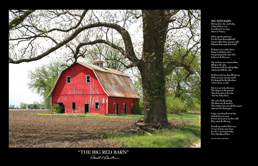 The Big Red Barn W Poem Photograph By David Dunham