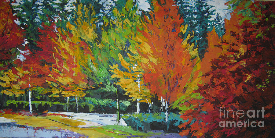 Landscape Painting - The Big Red Tree by Lee Ann Shepard