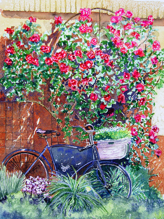 Bike Painting - The Bike At Bistro Jeanty Napa Valley by Gail Chandler