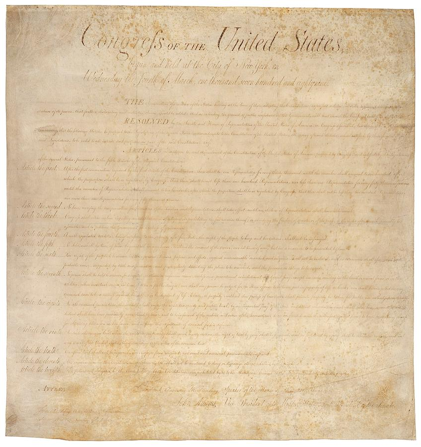 History Photograph - The Bill Of Rights. The First Ten by Everett