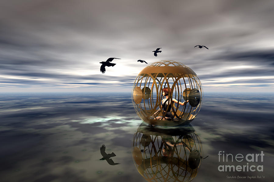 Bryce Digital Art - The Birdcage by Sandra Bauser Digital Art