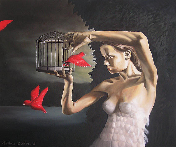 Bird Painting - The Birds Cage by Avihai Cohen