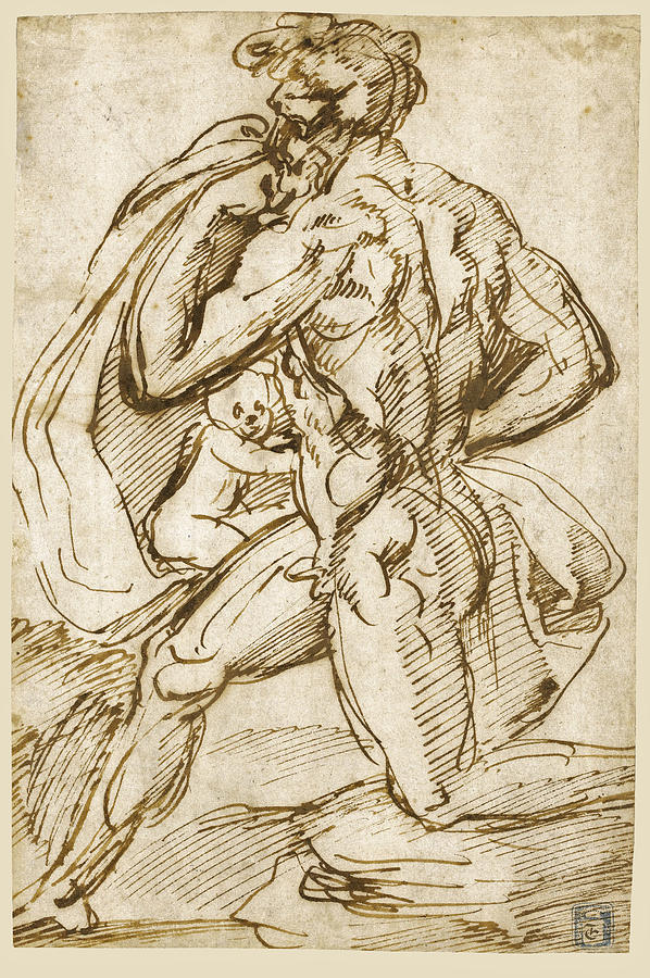Baccio Bandinelli Drawing - The Birth Of Bacchus From Jupiters Thigh by Baccio Bandinelli