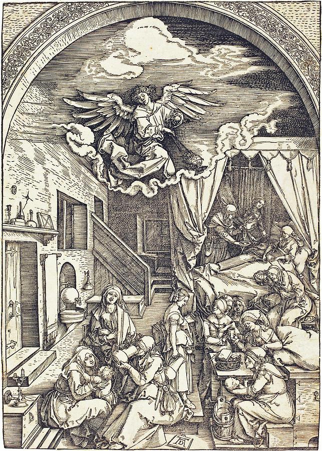 Albrecht Durer Drawing - The Birth Of The Virgin by Albrecht Durer