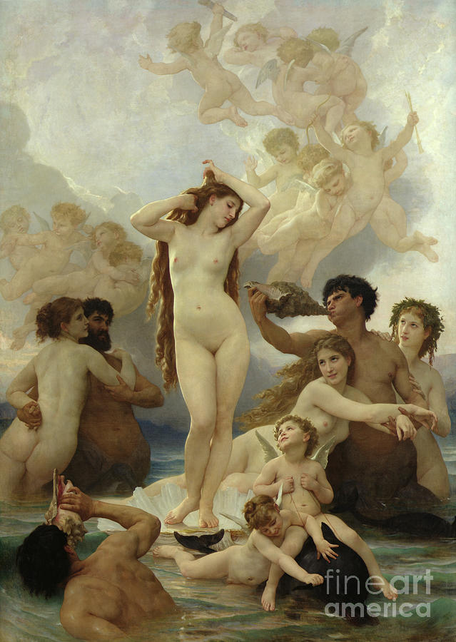 The Painting - The Birth Of Venus by William-Adolphe Bouguereau